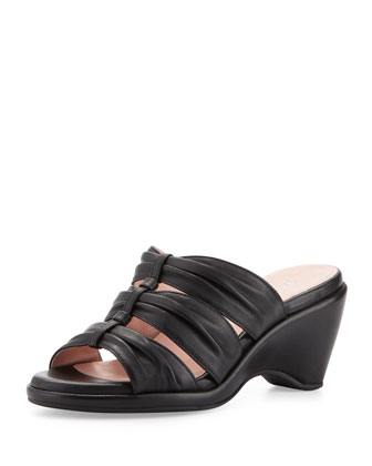 Maison Ruched Wedge Slide, Black