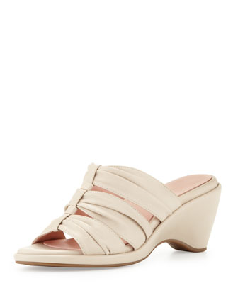Maison Ruched Wedge Slide, Bone