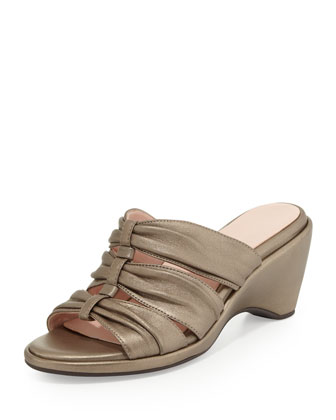 Maison Metallic Ruched Wedge Slide, Quartz