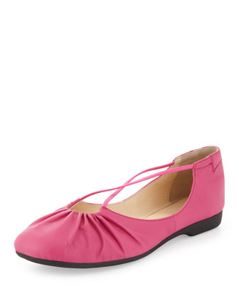 Bryan Ruched Crisscross Ballerina Flat, Pink Flash
