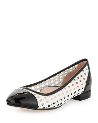 Beatriz Woven Cap-Toe Ballerina Flat, White/Black