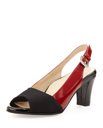 Fortula Peep-Toe Slingback, Black/Red