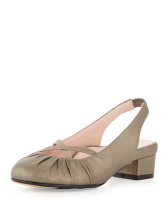 Jalana Ruched Low-Heel Slingback, Pink Flash