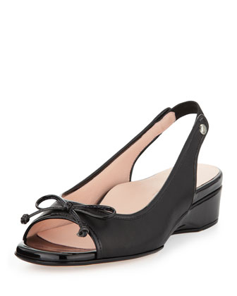 Karol Open-Toe Bow Slingback, Black