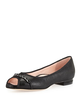 Aci Lizard-Print Chain-Trim Flat, Black