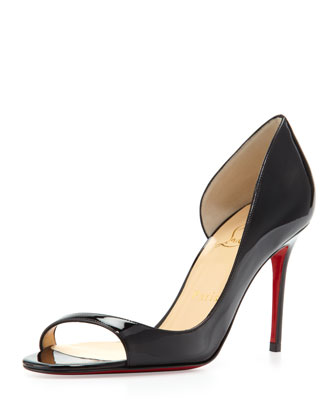Toboggan Peep-Toe Patent Red Sole Pump, Black