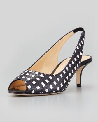 Tipi Snakeskin Peep-Toe Slingback, Black/White