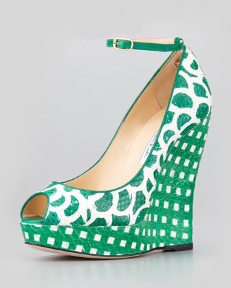 Alaly Snakeskin Wedge Sandal, Green/White