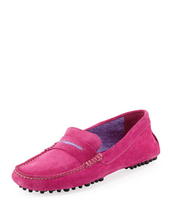Terry-Trimmed Suede Driver, Fuchsia/Lavender
