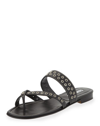 Susaocc Leather Grommet Flat Thong Sandal, Black