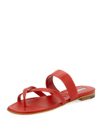 Susa Flat Leather Thong Sandal, Red