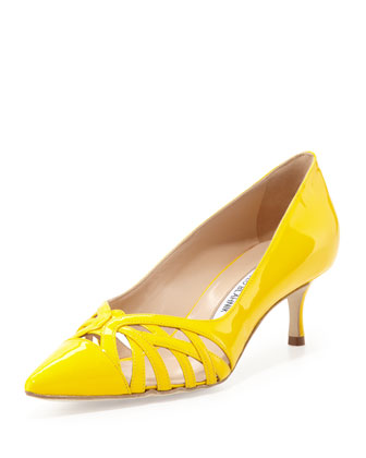 Cutout Vamp Pump, Yellow