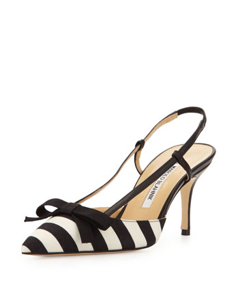 Galop Striped Canvas Halter Pump, Black/White