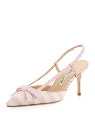 Galop Striped Canvas Halter Pump, Pink/White