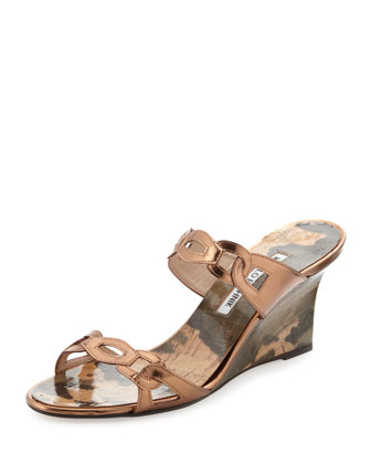 Chain Link Wedge Sandal, Bronze