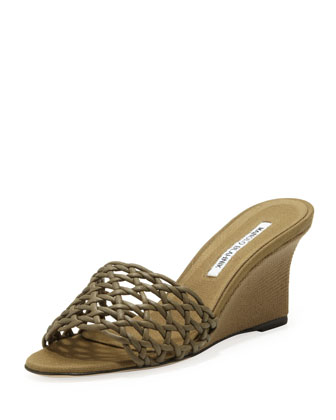 Tolesi Woven-Band Wedge Slide, Olive