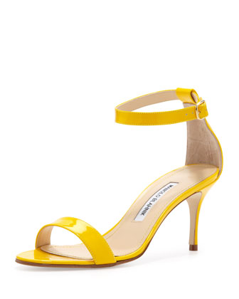 Chaos Ankle-Wrap Sandal, Yellow