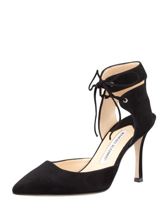 Lara Suede Ankle-Tie Pump, Black