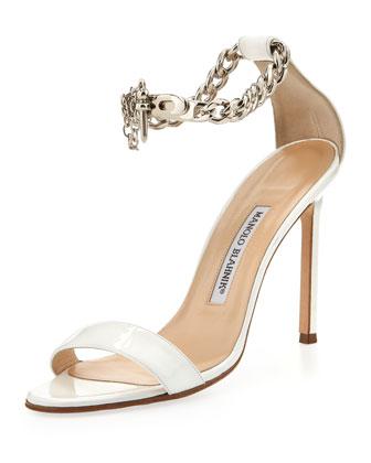 Chaos Patent Chain-Wrap Sandal, White