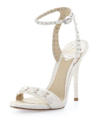 Catena Studded Snake Ankle-Wrap Sandal