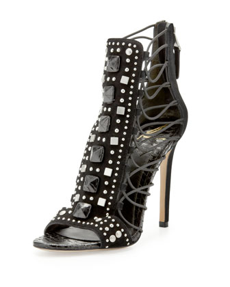 Lalouche Studded Suede Snake-Detail Cage Sandal
