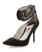 Leandra Suede Ankle-Collar Pump, Black