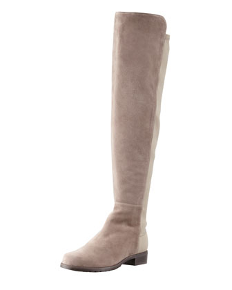 50/50 Narrow Suede Stretch-Back Knee Boot, Topo