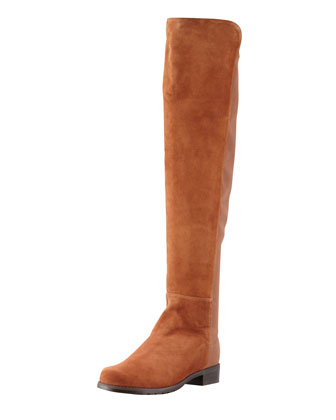 50/50 Narrow Suede Stretch-Back Knee Boot, Cuero