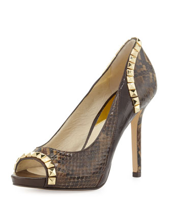 Ella Open-Toe Studded Pump