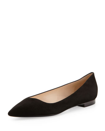 Pointed-Toe Suede Flat, Black