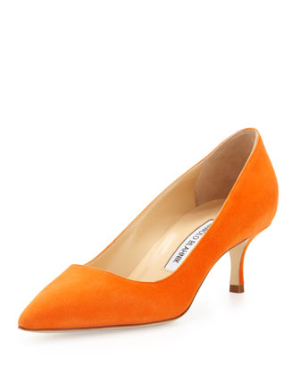 BB Suede 50mm Pump, Orange (Made to Order)