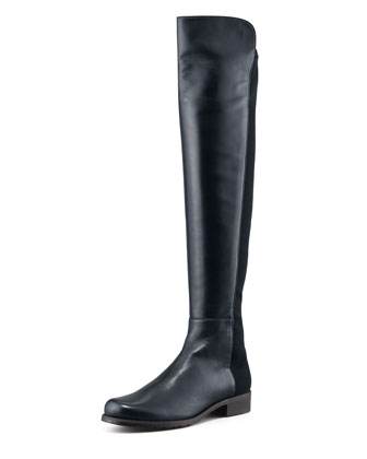 50/50 Wide Leather Over-the-Knee Boot, Navy