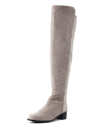 Reserve Wide Suede Stretch-Back Over-the-Knee Boot, Topo (Made to Order)