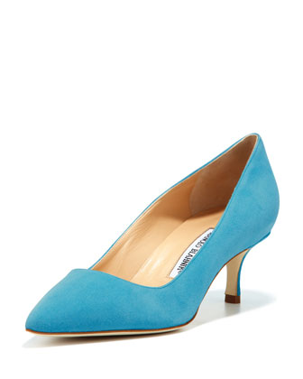 BB Suede 50mm Pump, Malibu Blue (Made to Order)