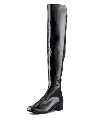 Reserve Patent Stretch-Back Over-the-Knee Boot, Black