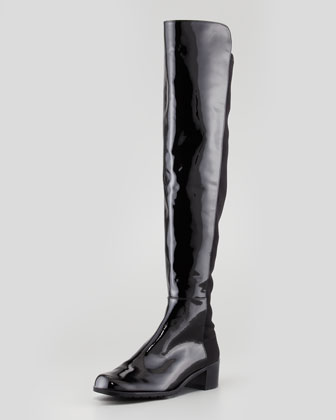 Reserve Wide Patent Stretch-Back Over-the-Knee Boot, Black
