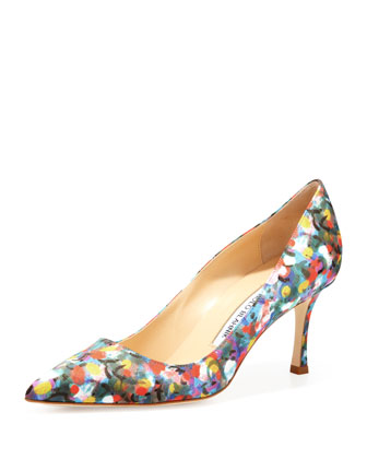 BB Satin 70mm Pump, Floral (Made to Order)