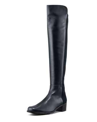 Reserve Leather Stretch-Back Over-the-Knee Boot, Navy