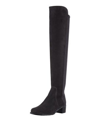 Reserve Narrow Suede Stretch-Back Over-the-Knee Boot, Black
