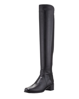 Reserve Narrow Leather Stretch-Back Over-the-Knee Boot, Black