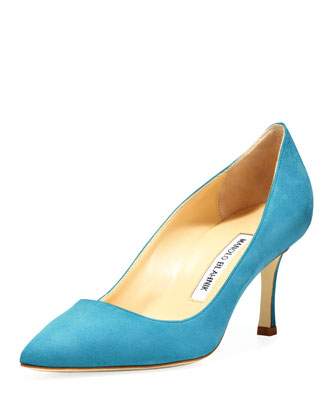 BB Suede 70mm Pump, Malibu Blue (Made to Order)