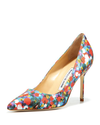 BB Satin 90mm Pump, Floral (Made to Order)