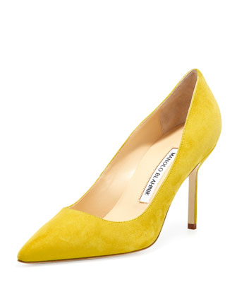 BB Suede 90mm Pump, Limone (Made to Order)