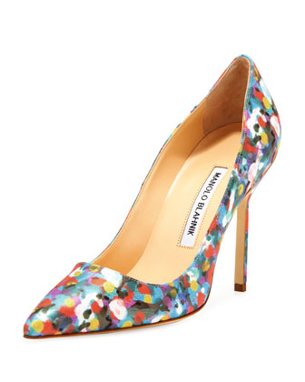 BB Satin 105mm Pump, Floral (Made to Order)