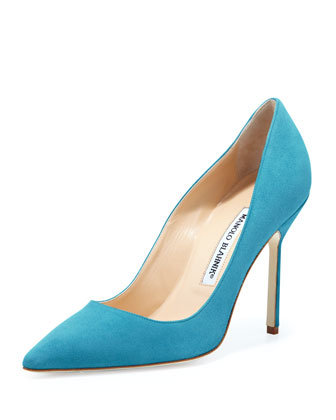 BB Suede 105mm Pump, Malibu Blue (Made to Order)