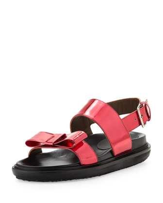 Shiny Leather Platform Sandal