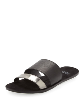 Folly Metallic-Leather Slide Sandal, Pewter