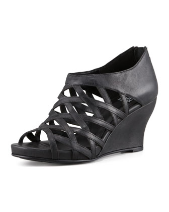 Cage Strappy Leather Wedge Sandal, Black