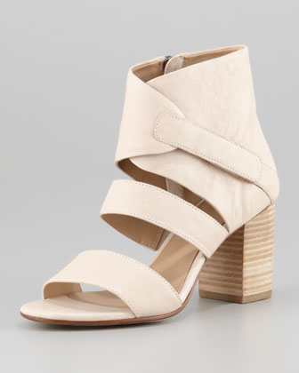 Tier Leather Ankle-Wrap Sandal, Buff