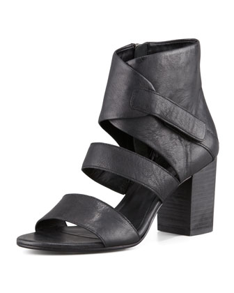 Tier Leather Ankle-Wrap Sandal, Black